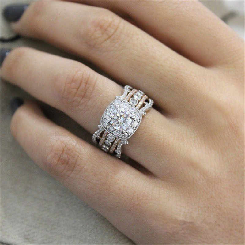 ZORCVENS High Quality Rose Gold Silver Color 2 ct Big White CZ Stone Wedding Ring for Woman Luxury Full Zircon Fashion Jewelry