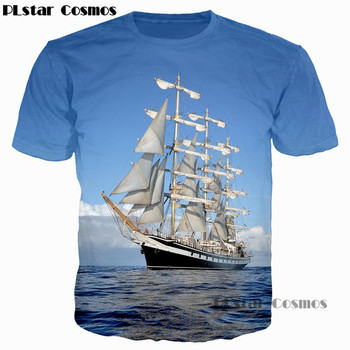 PLstar Cosmos 2019 Fashion Men/Women 3D T Shirt Waves Of the Sea Water Boat Head The Bottle Anchor Print T-Shirt Casual Tee Tops