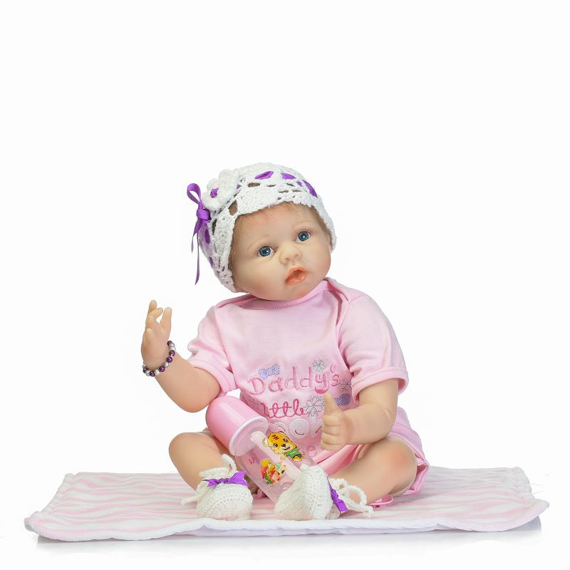 55cm Silicone Baby Reborn Dolls Lifestyle Newborn Girl Babies Fashion Toy for Children Pink Princess Doll Birthday New Year Gift pink wool coat doll clothes with belt for 18 american girl doll