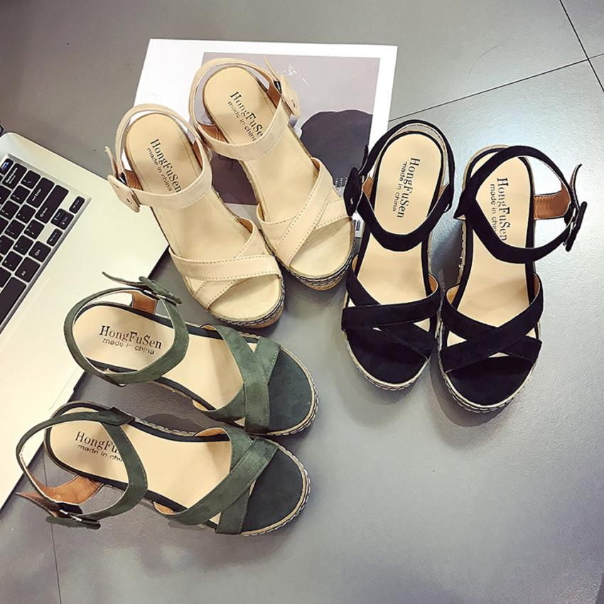 mokingtop platform sandals women Women Fish Mouth Platform High Heels Wedge Sandals Buckle Slope Sandals Summer Shoes ## slope with super high heels 14cm platform shoes sandals and slippers spring and summer fish head thick crust waterproof shoes