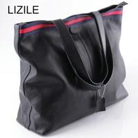 Genuine Leather Women's Cowhide Handbag Two Strap Shoulder Handbag Shopping Women's Bag Black
