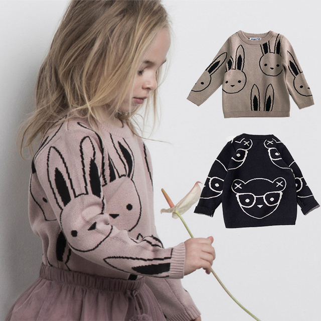 Ins Fashion Baby Girls Sweaters Boy Cartoon Rabbit Sweater Autumn Winter Kids Pullover Tops Cotton Knitwear For Girls Clothing