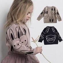 Ins 패션 아기 소녀 스웨터 소년 만화 토끼 스웨터 가을 겨울 키즈 풀오버 탑 여성 의류 면화 니트웨어