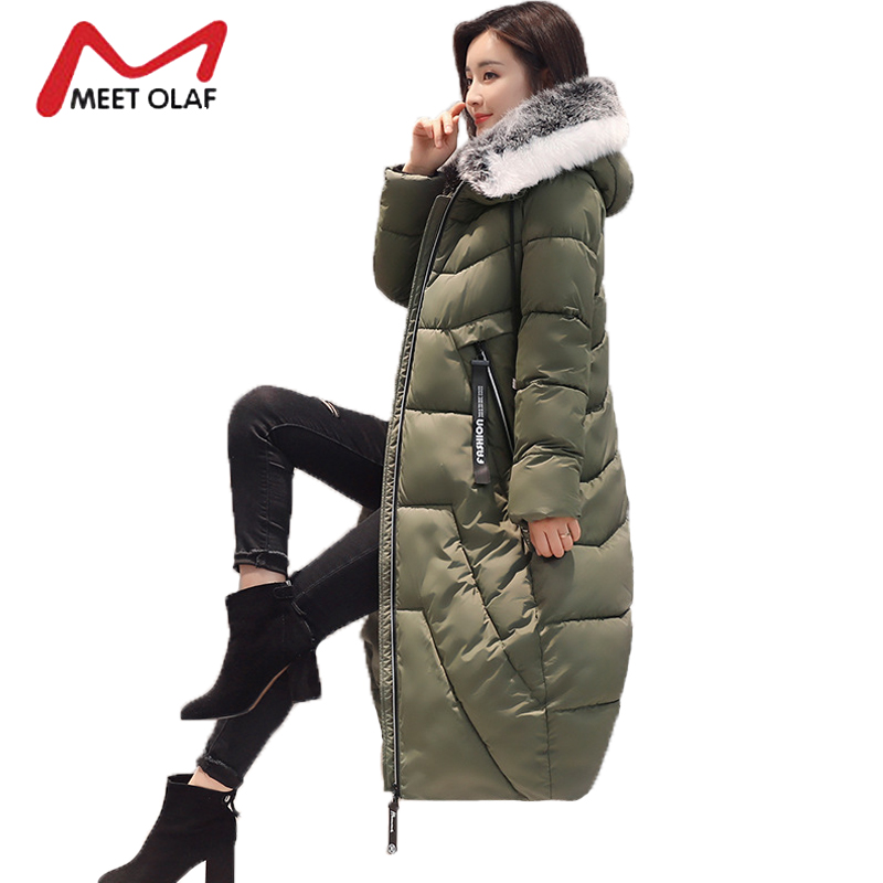 2017 Fur Hooded Women's Winter Down Jackets Female Long Winter Coats Long Parkas Wadded Ladies chaquetas invierno mujer Y1734 2017 winter jackets women winter coats fur hooded female loose oversized long cotton padded parkas abrigos mujer invierno ws006