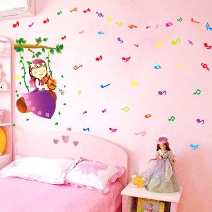cartoon lovely kindergarten classroom girl music wall stickers-in