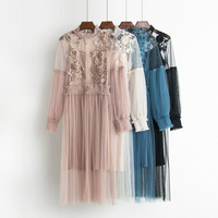 Autumn Korean Vintage Stand Collar Lantern Sleeve Dress Waisted Gauze Mid Length Textural Floral Lace Hollow
