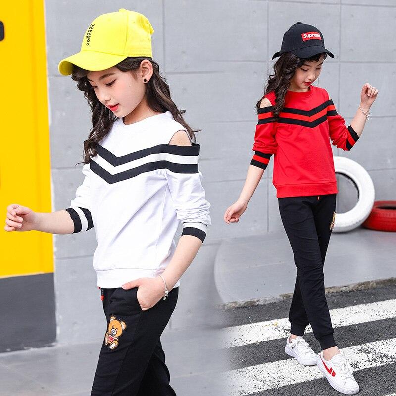 Bébé filles V motif ensemble 2016 printemps automne enfants Sport vêtements ensemble 2 pièces épaule ouverte t-shirt pantalon enfants vêtements ensembles