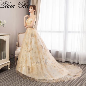 Formal Prom Dresses 2019 Strapless Wedding Party Evening Gown With Train Sexy Long Prom Dress 2