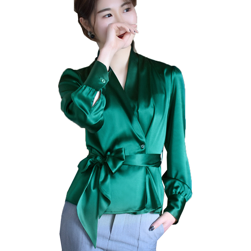 New Spring Summer Blouse Women Long Sleeve Shirts Fashion Silk Shirt With Bow Belt V Neck Office Ladies Work Wear Tops LX2613