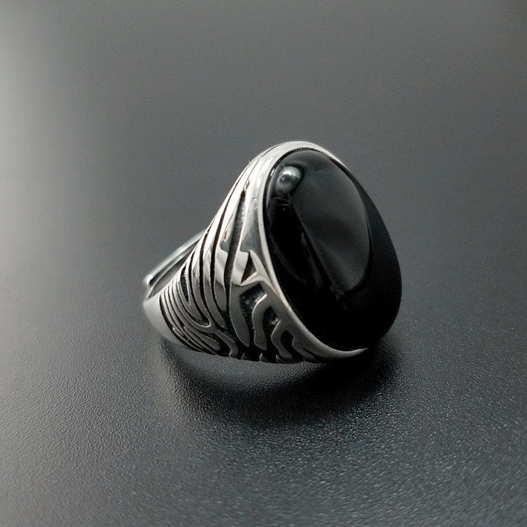 Solid Silver 925 Natural Black Onyx Stone Rings Men Large Wide Cuff Band 100% Real 925 Sterling Silver Vintage Male Jewelry Gift цены