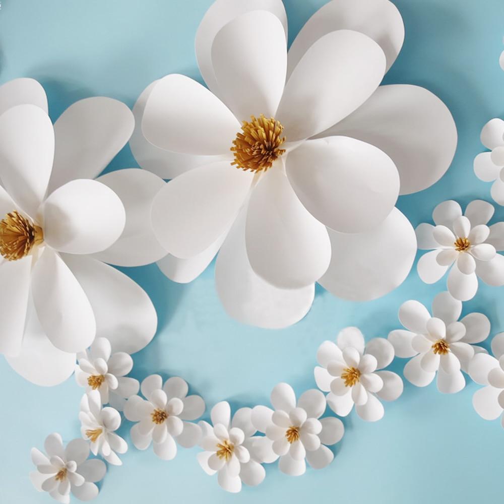19pcs Set White Color Giant Paper Flowers Party Wedding Decor For