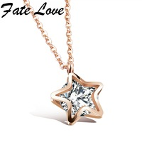 Romantic Woman Accessories Delicate Charm Rose Gold Stainless Steel Pendant Stars Design Necklace For Girl Lady
