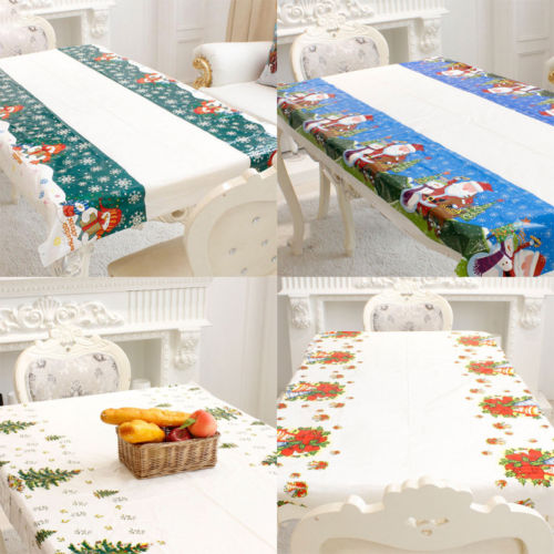 Christmas Tablecloth Santa Bells Xmas Tree Print Party Dining Kitchen Table Cloth Wipe Clean Cover Decoration In Tablecloths From Home Garden On
