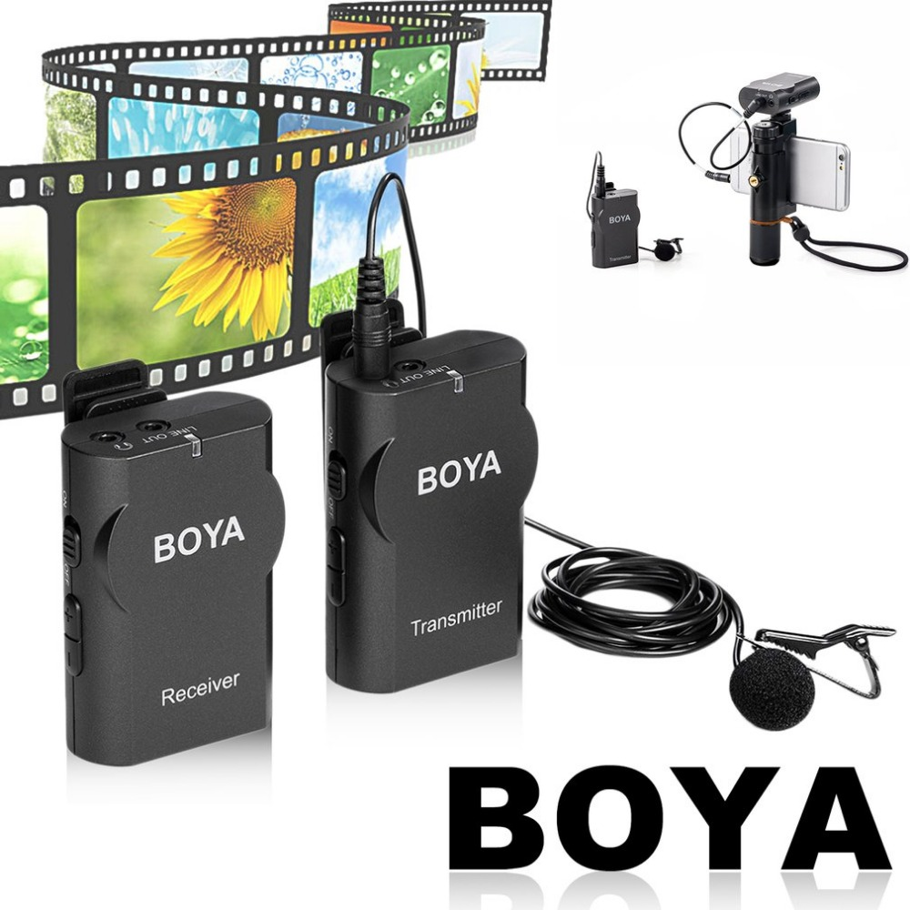 BOYA Professional Wireless Mic System Lavalier Lapel DSLR Camera Camcorder Microphone For iPhone For Phone for Canon Nikon Sony boya by wm4 wireless lavalier microphone system for canon nikon sony panasonic dslr camera camcorder iphone android smartphone