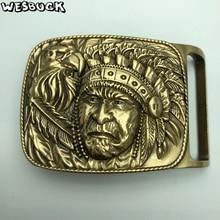 WesBuck Brand Western cowboy Indian Eagle belt buckles fit 4cm Wide Belt Brass Metal Classic mens womens Jeans accessories
