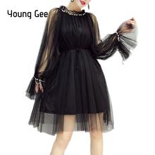 Young Gee Elegant Womens Dresses Crystal Beading Mesh Flare Sleeve Spring Autumn Trimmed Agaric Laces Dress vestido robe femme