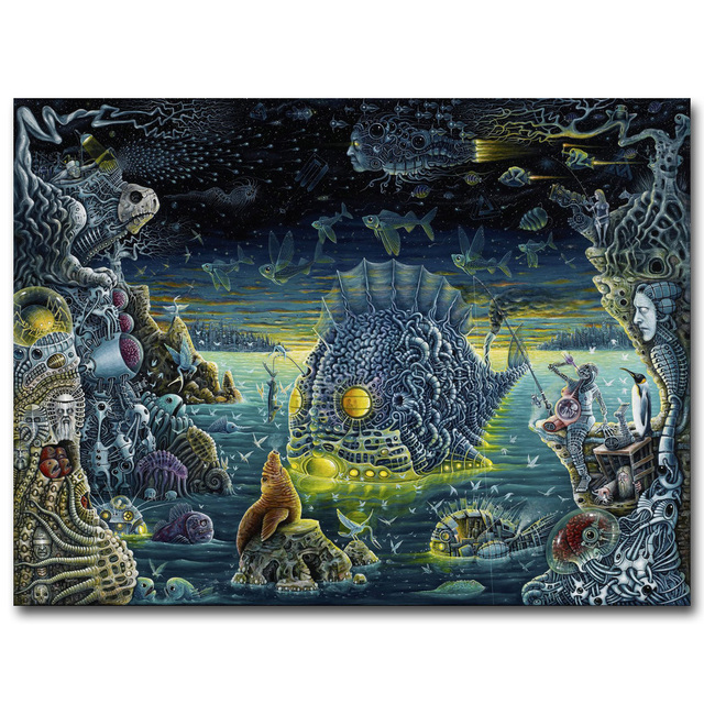 Fantasy Dark Psychedelic Skeleton Death Sea Fish Art Silk Fabric Poster Print Trippy Abstract Wall Picture