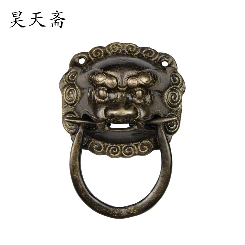 [Haotian vegetarian] Chinese antique door knocker lion head copper handle copper door handle HTA-067 chinese antique copper fittings knocker copper handle big lion tiger beast head copper shop first hand ring gate