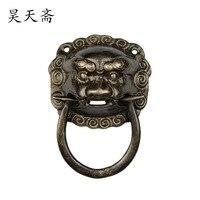 [Haotian vejetaryen] Çin antİk kapi knocker aslan kafası bakir kol bakir kapı kolu HTA 067 Kapı Kolları Ev Dekorasyonu -