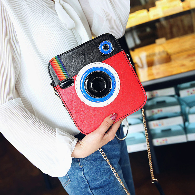 Fashion Camera Shape Rainbow Shoulder Bag for Girls Design Ladies Clutch HandBags High Quality PU Leather Women Messenger Bags fashion vintage women s handbags quality pu leather crossbody bags for teenager girls chains shoulder bag desinger clutch bags