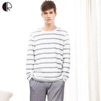 Cotton Long Sleeve O Neck Pajama For Men Spring Autumn Men Pajamas Set Women Sleepshirts Couple