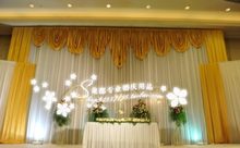 Hotsale white and gold wedding backdrop curtain with swag ,backdrop wedding decoration,wedding stage backdrop 3 meter*6meter