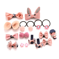 18PCS/Set Baby Girls Hair Accessories Cute Cartoon Rabbit Flower Bow Ball Hairpins Princess Headbands Hair Clips Kids Headwear