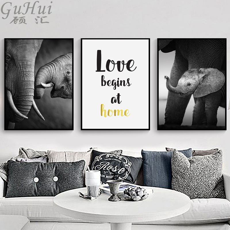 Black White African Wild Elephant Animal Wall Picture Love Family