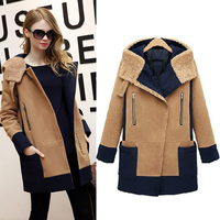 Winter Hooded Wool Coat Abrigos Mujer Invierno 2016 Winter Jacket Women Large Size Camel Cotton Padded