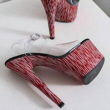 цена на Leecabe New Shinny covered heels Women's Platform Sandals Pole Dancing Shoes 7 Inch High Heels Shoes party high heel shoes