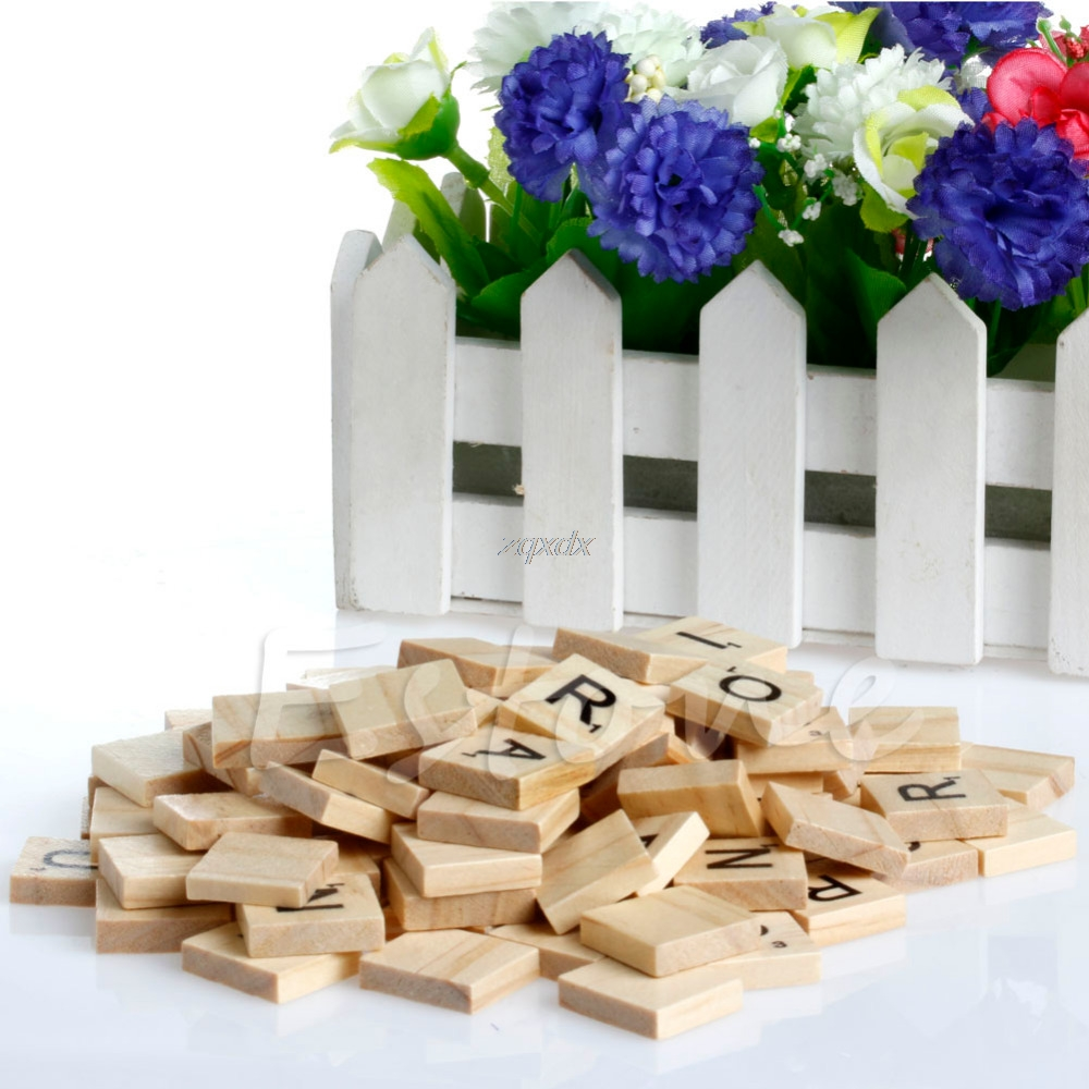 100x Wooden Alphabet Scrabble Tiles Black Letters & Numbers For ...
