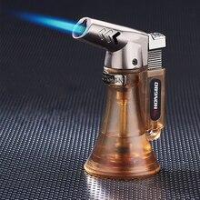 Pijp Aansteker Spuitpistool Compact Butaan Jet Aansteker Torch Turbo Aansteker 1300 C Flated Winddicht Metalen Jet Aansteker Geen gas