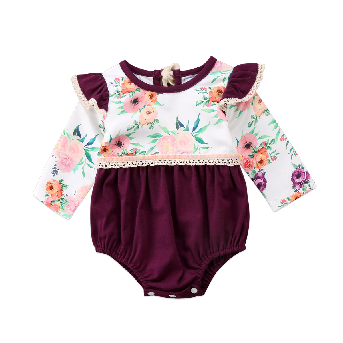 Flower Girls Clothing Newborn Infant Baby Girls Floral Long sleeve Romper Jumpsuit Cute Baby Outfits Set Clothes 0-2T
