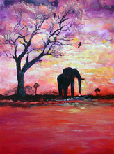5D DIY Diamond Painting Elephant in the Sunset Full Square  Embroidery Mosaic Rhinestones Wall Art Decoration