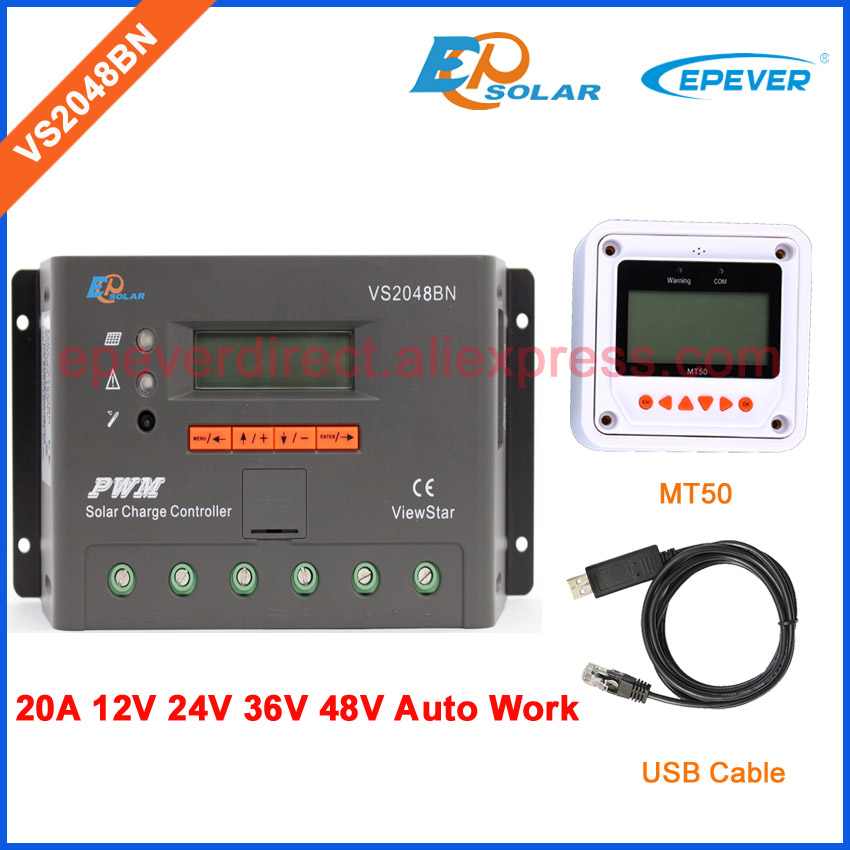 PWM EPEVER 20A charger EPSolar battery solar controller USB cable and MT50 remote meter VS2048BN 20AMP 36V 48V auto ble box vs2048bn 20a 24v 48v work usb cable solar pwm 20amp charger controller epever communication cable connect pc