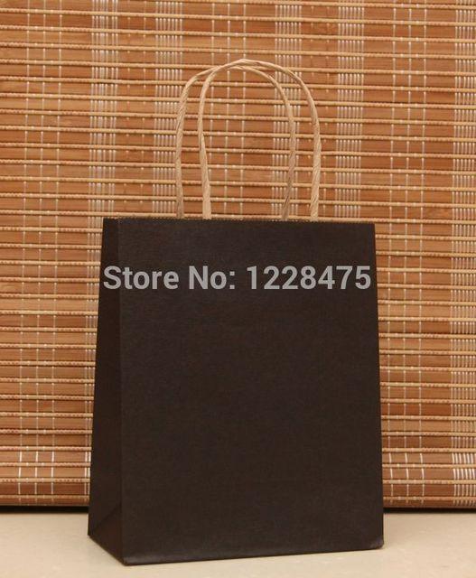 270b2cd20d7b 40PCS 21x15x8cm Small black Kraft Paper gift bags with handles for Shops  Christams High Quality DIY Multifunction