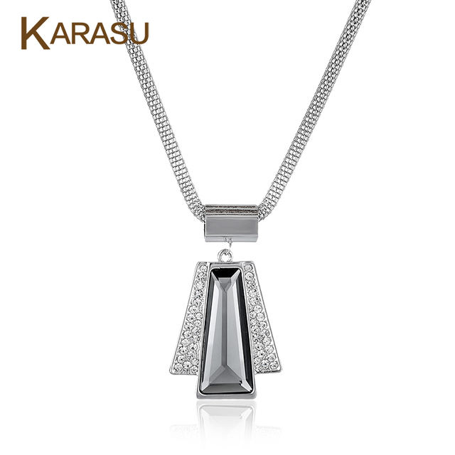 Vintage Real White Big Austrian Crystal Angel Shape Geometric Pendant Platinum Plated Chain Necklaces for Women Jewelry Gifts
