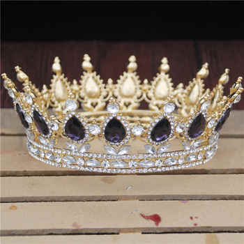 Crystal Vintage Royal Queen King Tiaras and Crowns Men/Women Pageant Prom Diadem Hair Ornaments Wedding Hair Jewelry Accessories