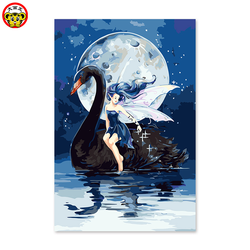 Digital Oil Painting Black Swan Girl Moon Angel Handmade Adornment-In Paint By Number -7692