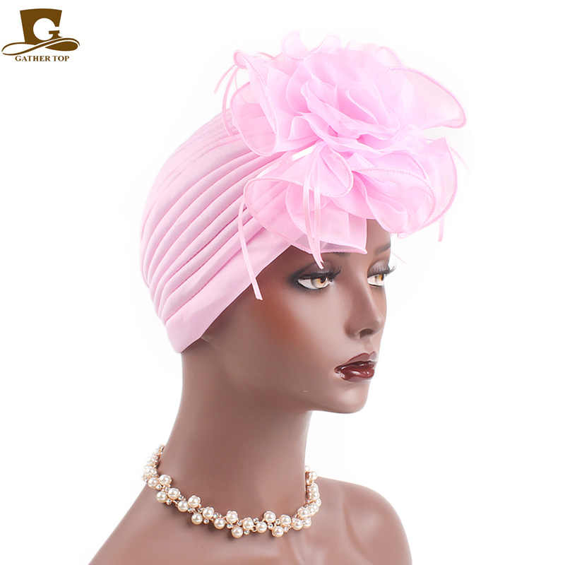Fascinators Hats Women Flower ruffle Turban Beanie Head Scarf Wrap Chemo Cap  For Cancer Patient Indian be8bfa8dc91a