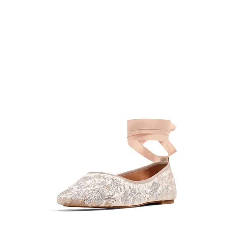 Prova perfetto 새 플랫 숙 녀 신발 embroider 발레 댄스 신발 실크 리본 플랫 신발 여자 고품질 웨딩 신발-에서여성용 플랫부터 신발 의  그룹 3