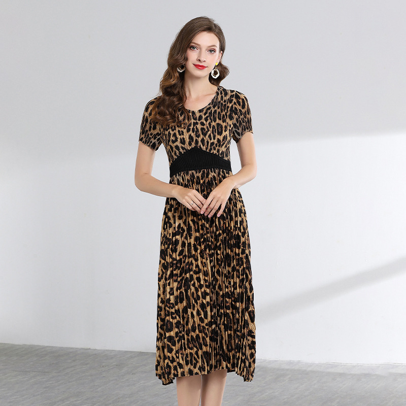 LANMREM High Quality 2019 Summer Fashion New Leopard Printing Short Sleeve Dresses For Women Temperament Pelated