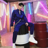 Jumpsuit Men Long Sleeve One Piece Overalls Streetwear Pants Fashion Loose Casual Jumpsuits Male Hip Hop Tooling Trousers YT5080