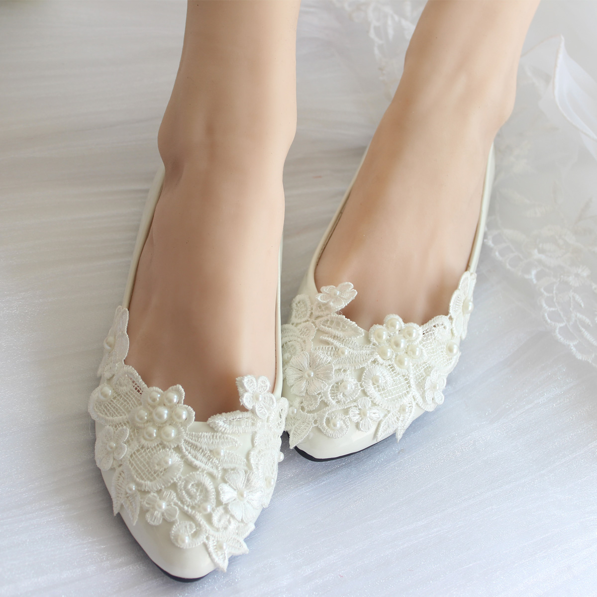 Pearl Lace Wedding Shoes White Handmade Bridal Bridesmaid Women Flats Heel Low Single Ladies Large Size 41 52 In Womens From