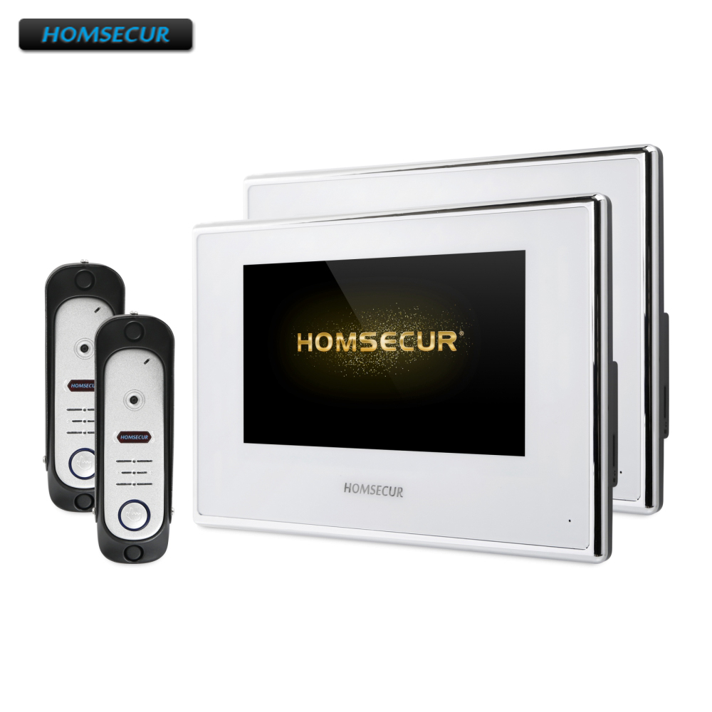 HOMSECUR 4 Wire Video Door Entry Phone Call System With Voice Message BC051HD-S+BM718HD-W