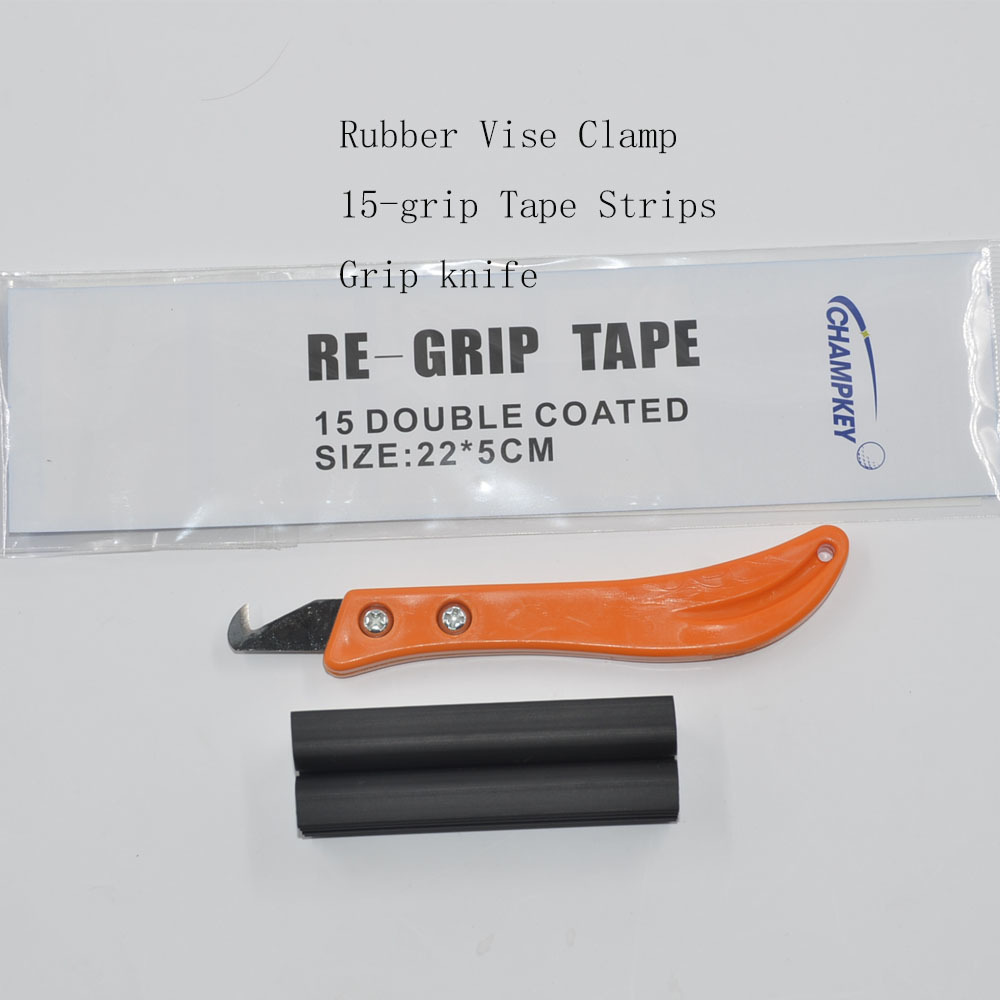 Golf Club Kit Rubber Vise Clamp + Regrip Tool Install Change Steel + Hook Blade Utility Knife + 13Pieces Grip Tapes