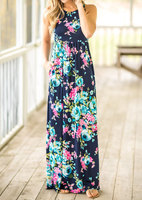 2018 VESSOS Women Max Dresses Fashion Tank Sleeve Floral Pocket Sleeveless Maxi Dress Polyester Floor-Length Navy Blue Casual 3