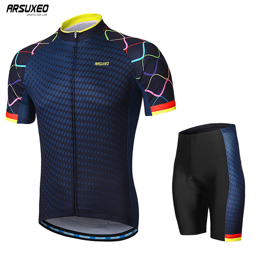 ARSUXEO Men's Cycling Sets Bike Jersey Short Sleeves Mountain Bike MTB Sets with Shirt padded Shorts Maillot Ropa Ciclismo туника