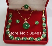 18k Yellow Gold GP Green Emerald Necklace Bracelet Earring Ring box