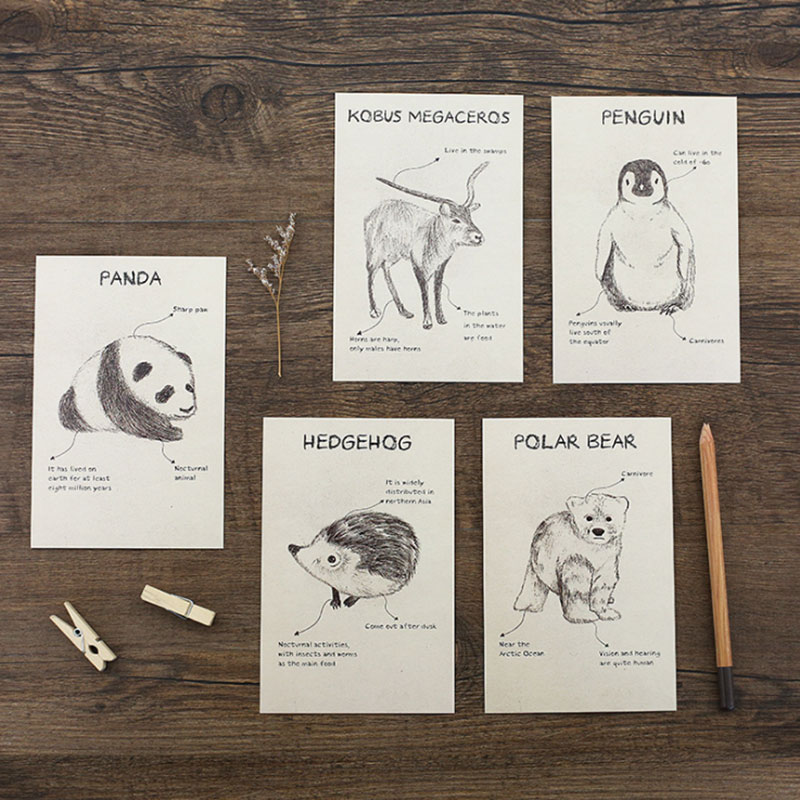 30 Pcslot Wonderful Zoo Postcard Panda Lion Owl Animal Greeting Card Christmas Birthday New Year Card Message Gift Cards In Cards Invitations